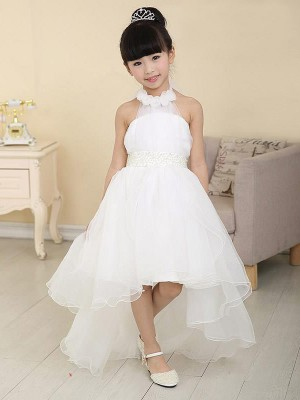 A-Line Organza High Neck Sleeveless Asymmetrical With Beading Flower Girl Dresses