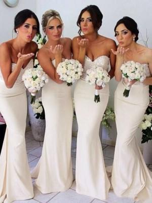 Mermaid Satin Sweetheart Sleeveless Floor-Length With Beading Dresses