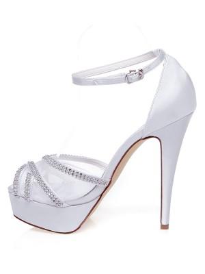 Women's Satin Peep Toe Stiletto Heel Rhinestones Wedding Shoes