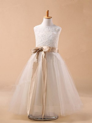 Ball Gown Tulle Jewel Sleeveless Tea-Length With Bowknot Flower Girl Dresses