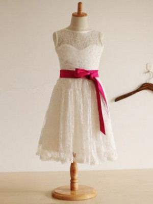 A-Line Lace Jewel Sleeveless Tea-Length With Sash/Ribbon/Belt Flower Girl Dresses