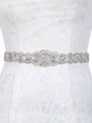 Brilliant Polyester Fiber Sashes With Rhinestones/Imitation Pearls