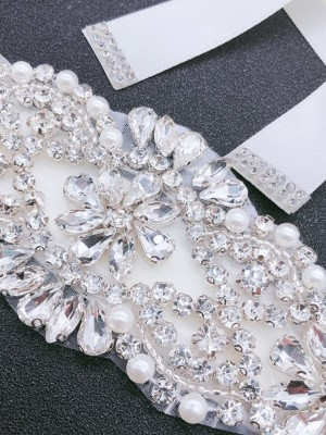Fashion Satin Sashes With Rhinestones/Imitation Pearls