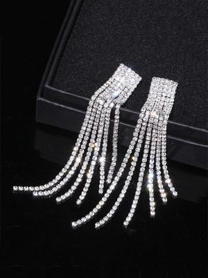 Women's Fancy Rhinestone Long Tassel Earrings