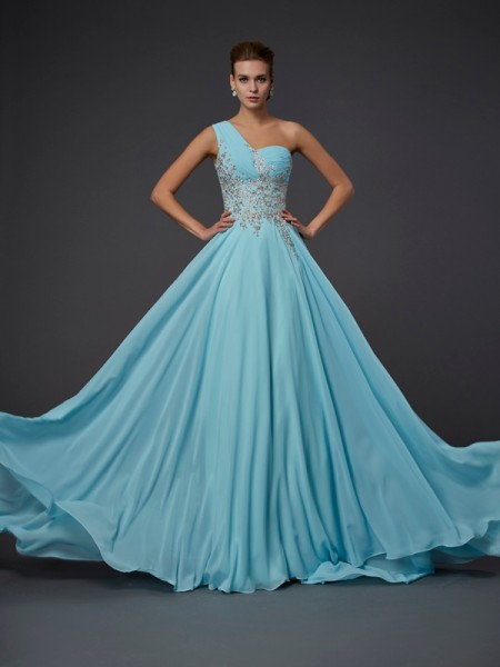 A-Line Chiffon One-Shoulder Sleeveless Floor-Length With Ruffles Dresses