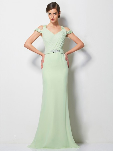 A-Line Chiffon V-neck Sleeveless Sweep/Brush Train With Beading Dresses