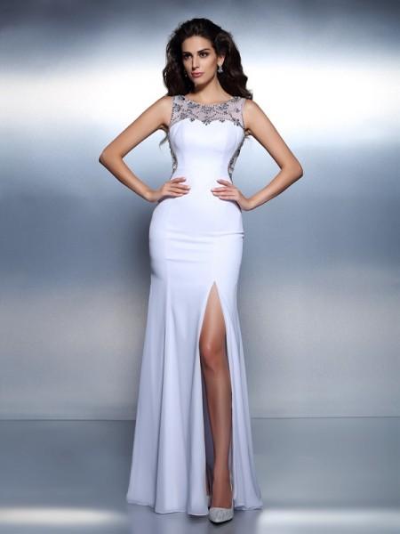 Mermaid Chiffon Bateau Sleeveless Floor-Length With Beading Dresses