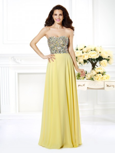 A-Line Chiffon Strapless Sleeveless Floor-Length With Beading Dresses