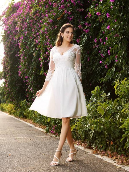 A-Line Chiffon V-neck 3/4 Sleeves Knee-Length With Lace Wedding Dresses