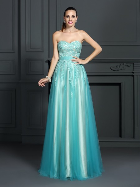 A-Line Elastic Woven Satin Sweetheart Sleeveless Floor-Length With Applique Dresses