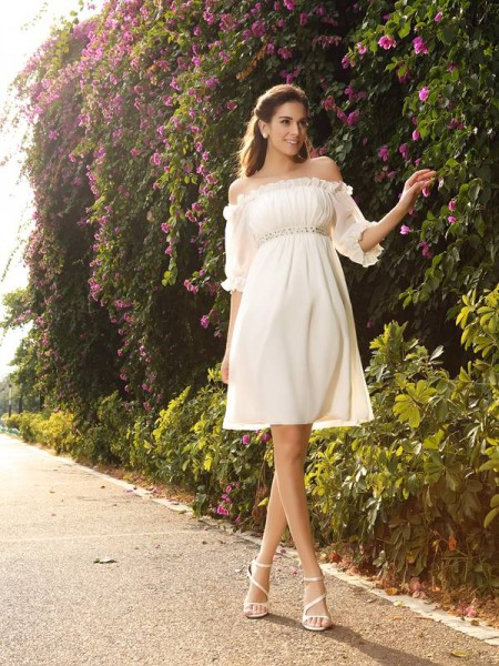 A-Line Chiffon Off-the-Shoulder 1/2 Sleeves Knee-Length With Beading Wedding Dresses