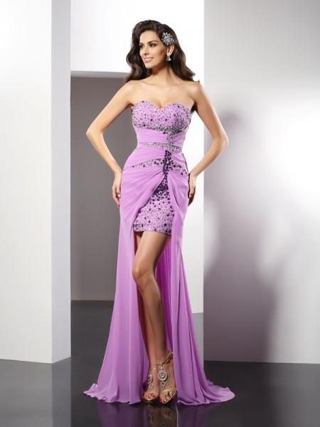 Sheath Silk like Satin Sweetheart Sleeveless Floor-Length With Beading Dresses