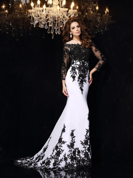 Sheath Chiffon Scoop Long Sleeves Sweep/Brush Train With Lace Dresses