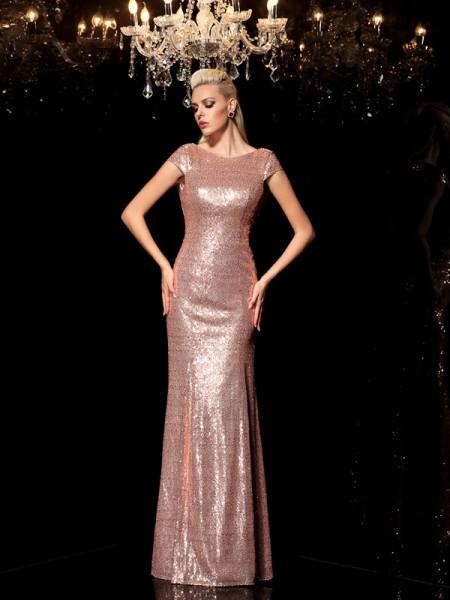 Sheath Sequins Scoop Sleeveless Floor-Length With Sequin Dresses