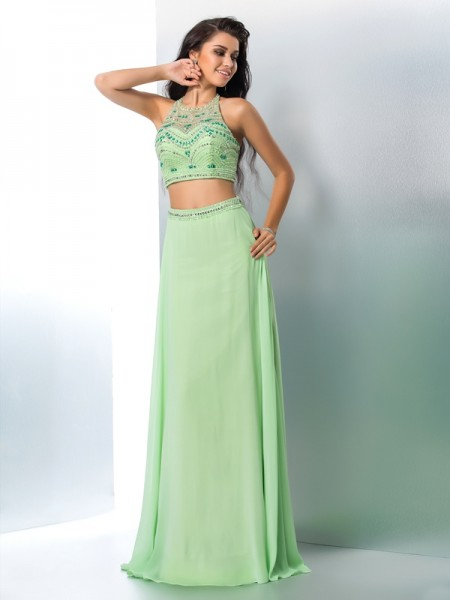 A-Line Chiffon Halter Sleeveless Floor-Length With Beading Two Piece Dresses