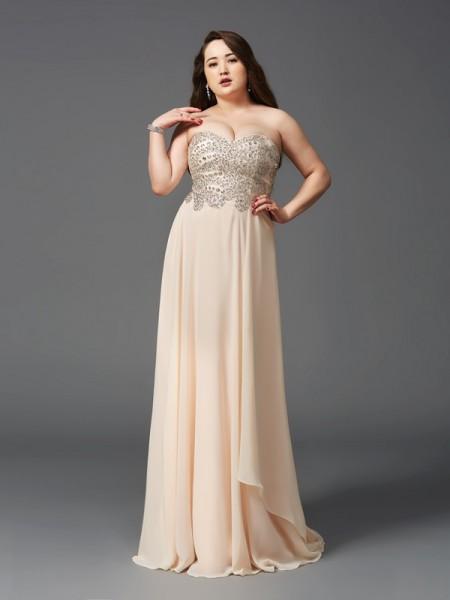 A-Line Chiffon Sweetheart Sleeveless Sweep/Brush Train With Rhinestone Plus Size Dresses