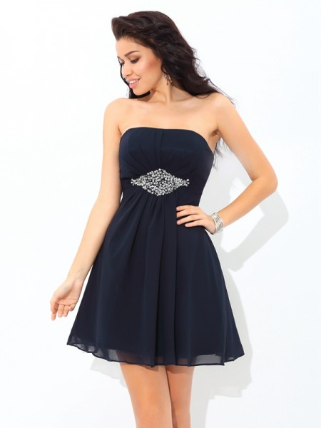 A-Line Chiffon Strapless Sleeveless Short/Mini With Beading Dresses