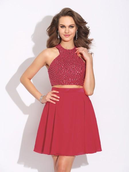 A-Line Chiffon Jewel Sleeveless Short/Mini With Crystal Two Piece Dresses