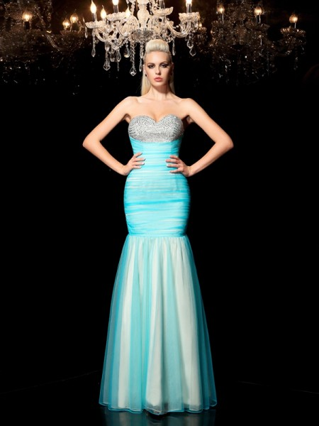 Sheath Net Sweetheart Sleeveless Floor-Length With Sequin Dresses
