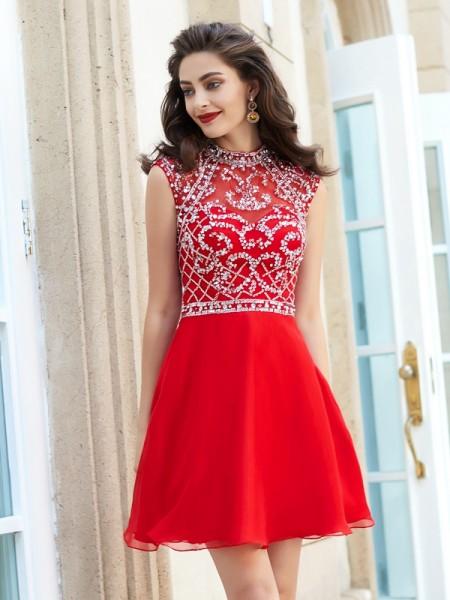 A-Line Chiffon High Neck Sleeveless Short/Mini With Beading Dresses