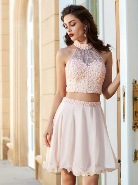 A-Line Chiffon Halter Sleeveless Short/Mini With Beading Dresses