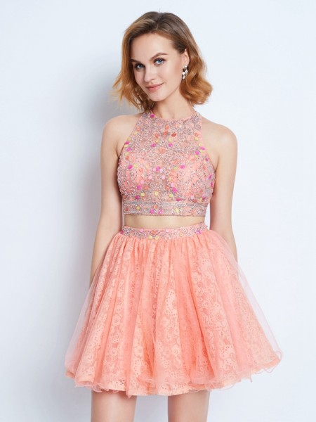 A-Line Lace Jewel Sleeveless Short/Mini With Lace Dresses