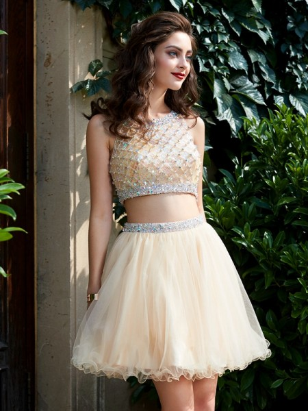 A-Line Net Scoop Sleeveless Short/Mini With Beading Homecoming Dresses
