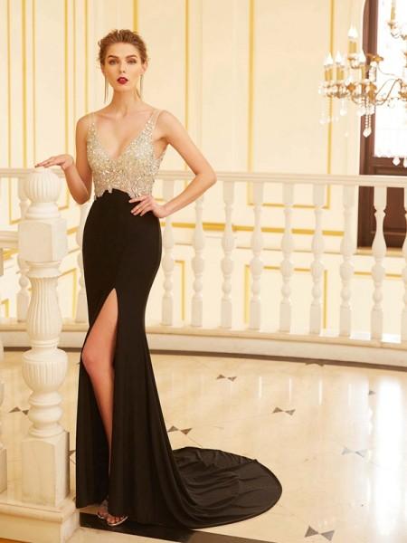 Sheath Spandex V-neck Sleeveless Sweep/Brush Train With Beading Dresses