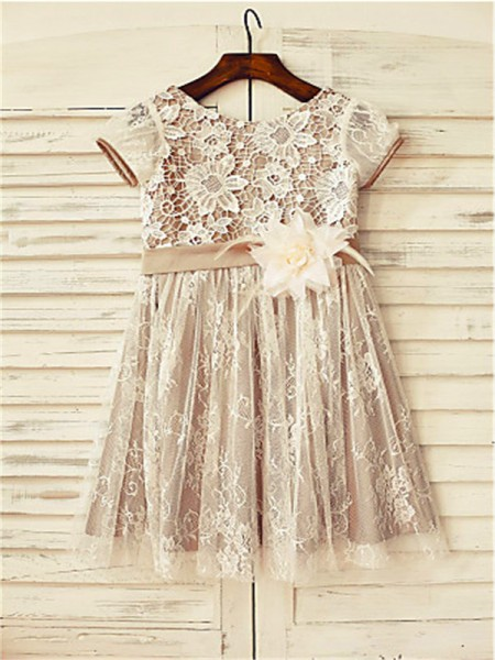 34dbfe4f9ea add your photo · A-line Princess Scoop Short Sleeves Hand-made Flower Tea-Length  Lace