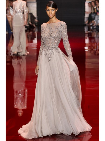 A-Line Chiffon High Neck Long Sleeves Sweep/Brush Train With Applique Dresses