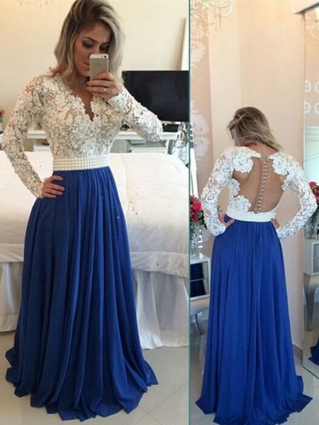 A-Line Chiffon V-neck Long Sleeves Floor-Length With Pearls Dresses