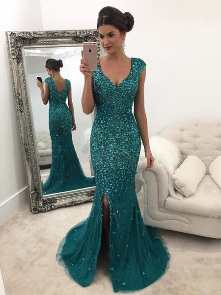 A-Line V-Neck Sleeveless Sweep/Brush Train With Sequin Tulle Dresses