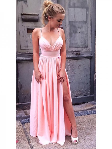 A-Line Sleeveless Straps Floor-Length With Ruched Silk like Satin Dresses