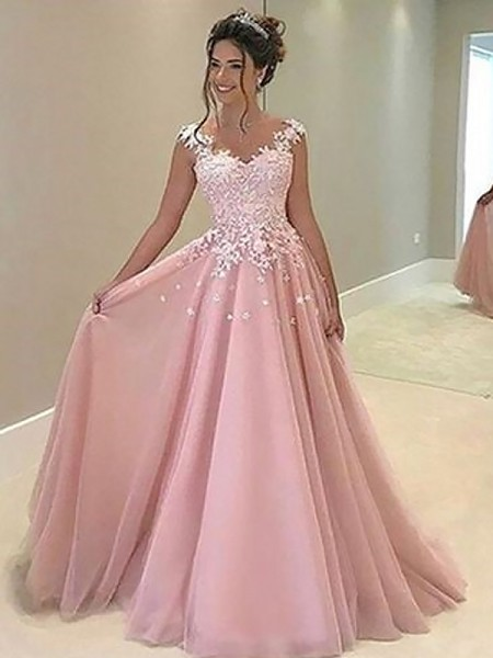 A-Line Sweetheart Sleeveless Floor-Length With Applique Tulle Dresses