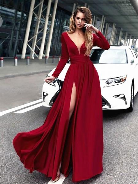 A-Line V-neck Floor-Length Satin Chiffon Long Sleeves With Ruffles Dresses