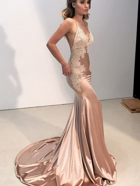 Mermaid Straps V-neck Sleeveless With Applique Sweep/Brush Train Silk like Satin Dresses