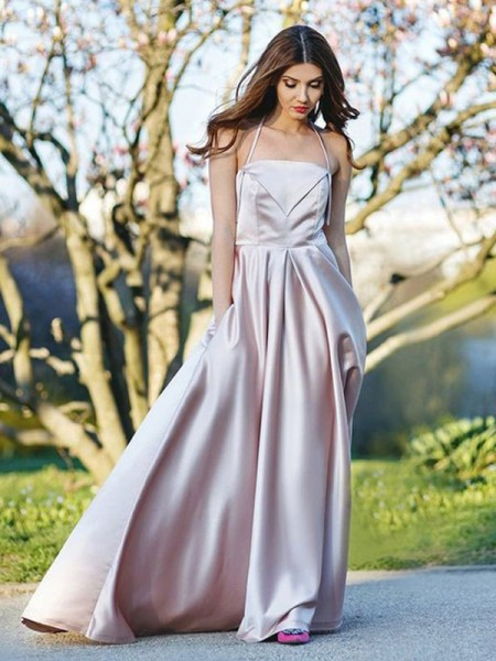 A-Line Halter Sleeveless Sweep/Brush Train With Ruched Satin Dresses