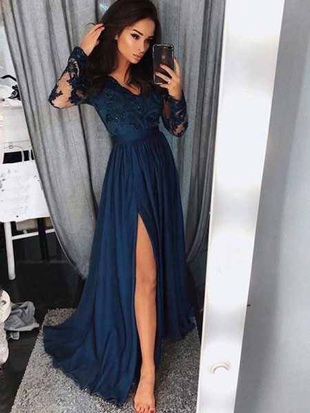 A-Line V-neck Long Sleeves Sweep/Brush Train With Applique With Ruched Satin Chiffon Dresses