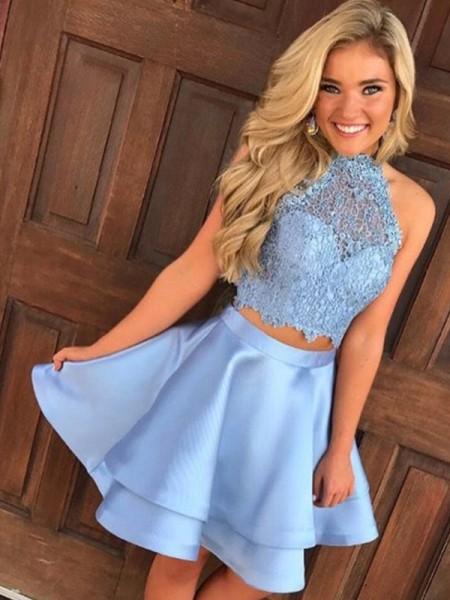 A-Line Satin Lace Sleeveless Halter Short/Mini Two Piece Dresses