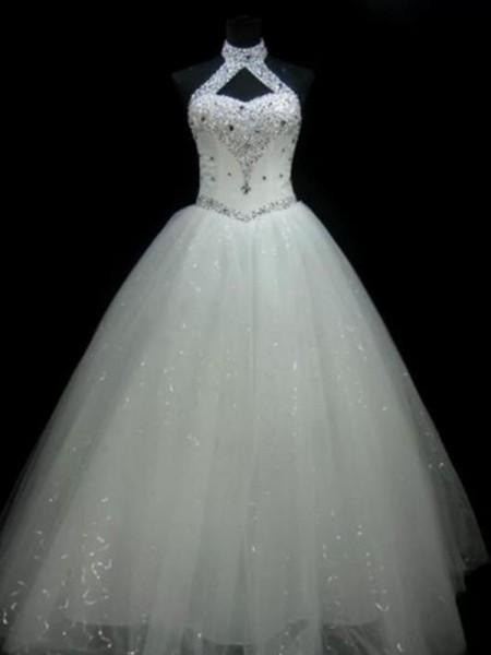 Ball Gown Halter Sleeveless Floor-Length With Beading Sequin Tulle Wedding Dresses