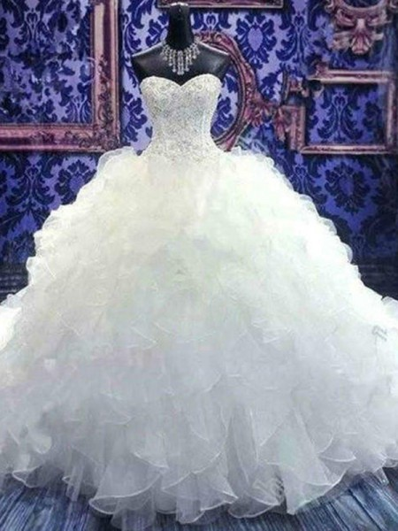 Ball Gown Sleeveless Sweetheart Chapel Train With Beading Sequin Organza Wedding Dresses