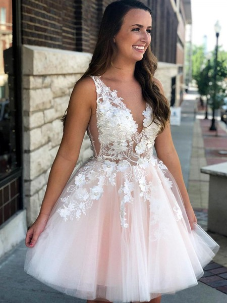 A-Line Sleeveless V-neck Tulle With Applique Short/Mini Dresses