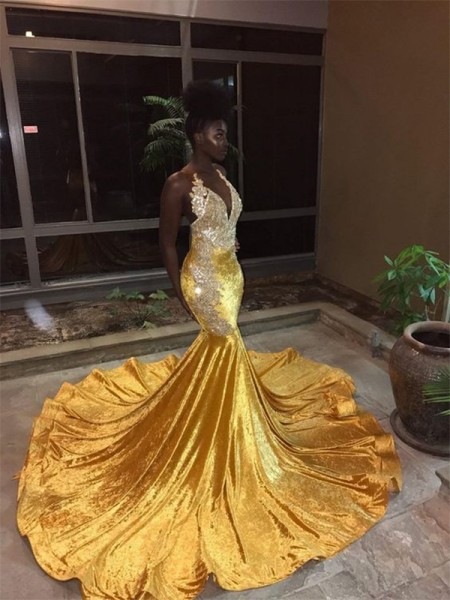 Mermaid Sleeveless V-neck Court Train Lace Velvet Dresses