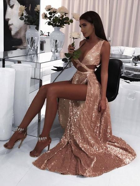 A-Line Sleeveless V-neck Floor-Length With Ruffles Sequins Dresses
