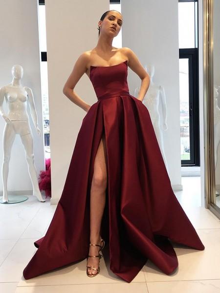 Ball Gown Sleeveless Strapless Sweep/Brush Train With Ruffles Satin Dresses