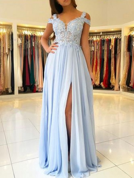 A-Line Sleeveless Off-the-Shoulder Floor-Length With Applique Chiffon Dresses