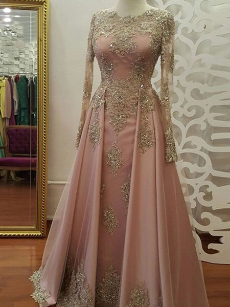 A-Line Long Sleeves Scoop Floor-Length With Applique Tulle Muslim Dresses
