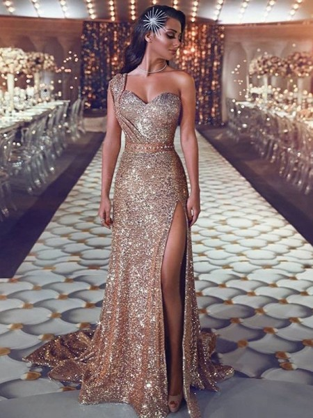Sheath Sleeveless One-Shoulder Sweep/Brush Train With Beading Sequins Dresses