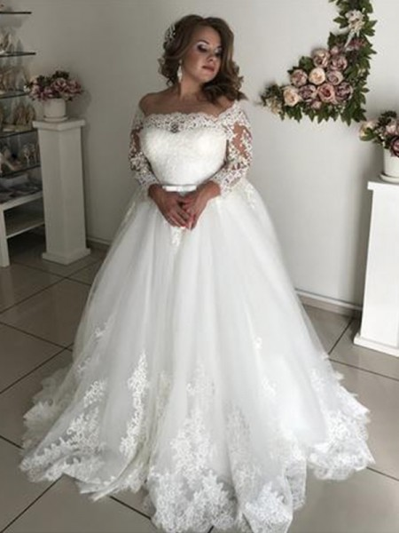 A-Line Off-the-Shoulder Long Sleeves Sweep/Brush Train Lace Tulle Wedding Dresses