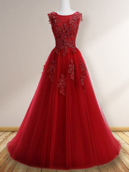 A-Line Scoop Sleeveless Floor-Length With Applique Tulle Dresses